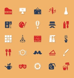 Art activity classic color icons with shadow vector
