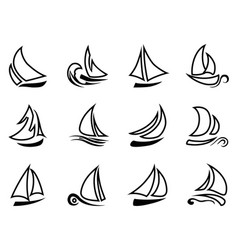 black sailboat outline icons vector image