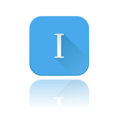Blue icon with i roman numeral with reflection vector