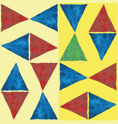 Bluered and green watercolor triangles in fun vector