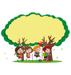 border template with kids hiking in the woods vector image