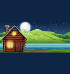 Cabin house at night scen vector