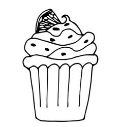 cake with lemon or orange cupcake drawn in vector image