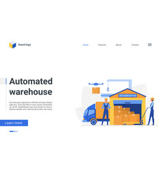 cartoon automated warehouse landing page workers vector image