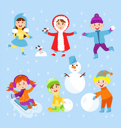 Christmas kids playing winter games children vector