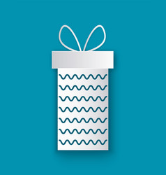 christmas paper cut gift box with waves isolated vector image