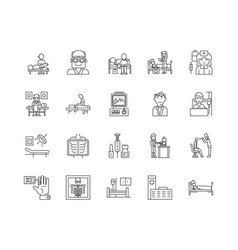 clinics line icons signs set outline vector image