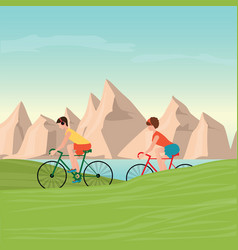 couple riding bicycles on mountain view vector image