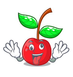 crazy cherries fruit isolated with the cartoon vector image