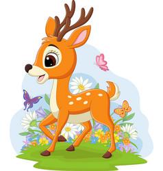 cute badeer in grass vector image