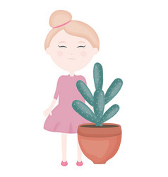 Cute little girl with cactus in ceramic pot vector