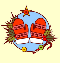 cute mittens icon merry christmas and happy new vector image