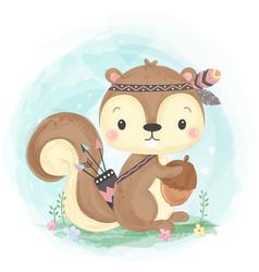 Cute tribal squirrel vector