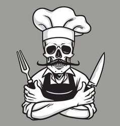 dead skull chef grinning with fork knives and hat vector image