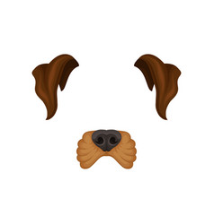 Detailed flat icon of brown dog s ears and vector