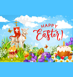 easter holiday eggs chickens and lamb god vector image
