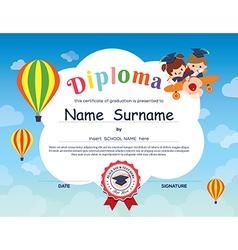 Elementary school Kid Diploma certificate template vector