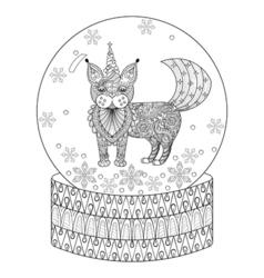 entangle snow globe with maic cat like unicorn vector image