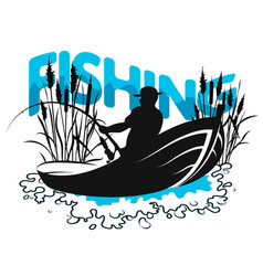 fisherman in boat and reeds vector image