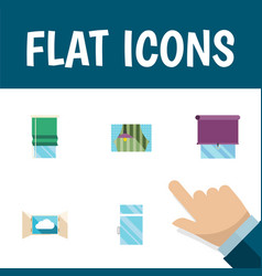flat icon frame set of glazing cloud balcony and vector image