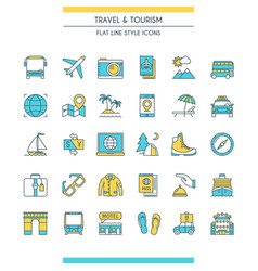 flat line design travel icons vector image