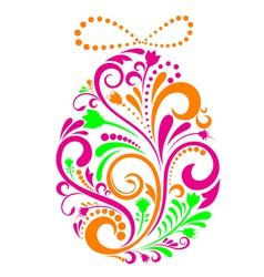 floral Easter egg vector image