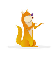 funny dog with raised tail up sitting flat vector image