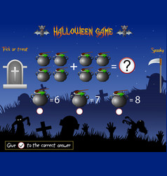 Game count the cauldron in the halloween theme vector