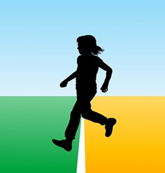 Girl crossing the finish line concept for new begi vector