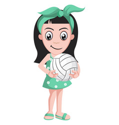 girlholding volleyball on white background vector image