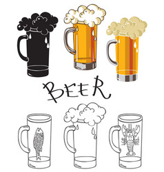Glass of beer with crayfish and fish vector