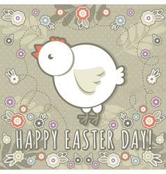 Greetings card with easter eggs and one chicken vector