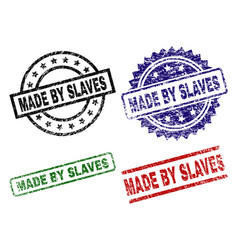 Grunge textured made by slaves seal stamps vector