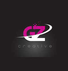 gz g z creative letters design with white pink vector image