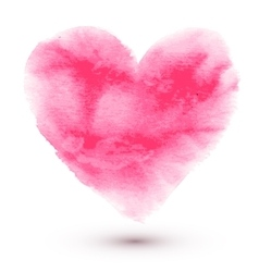 Hand made watercolor pink heart vector
