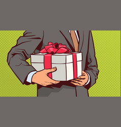 Hands of business man hold gift sketch present vector