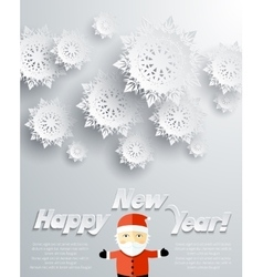 Happy New Year Santa Claus Snowflakes Background vector image
