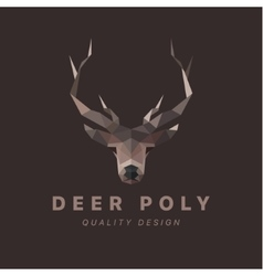horned animal deer head low poly vector image