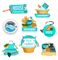 house cleaning laundry and washing service icons vector image
