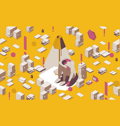 Isometric full color outline underachieving man in vector