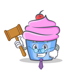 Judge cupcake character cartoon style vector