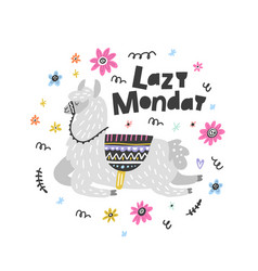 lazy monday lama vector image