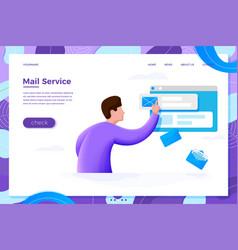 Mail service cartoon man checking mailbox vector