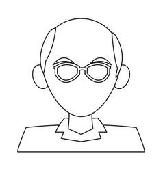 man faceless profile cartoon black and white vector image