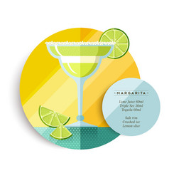 Margarita drink recipe menu for cocktail party vector