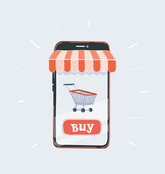 men hand holding modern mobile phone with online vector image