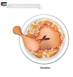 Musakhan or Palestinian Roasted Chicken on Taboon vector image