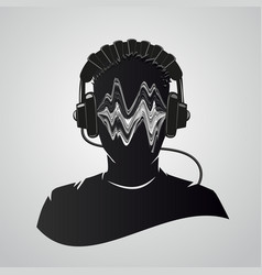 music dj head with headphones human face vector image