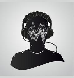 music dj head with headphones human face vector image