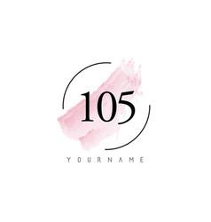 Number 105 watercolor stroke logo design vector